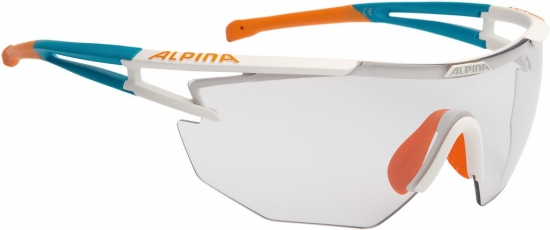 Sonnenbrille Alpina Eye-5 Shield VL+weiß matt/cyan/orange Glas schwarz fogst