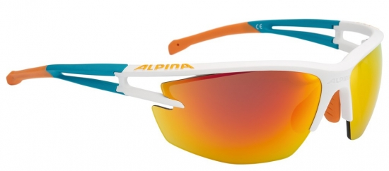 Sonnenbrille Alpina Eye-5 HR CM+weiß matt/cyan/orange Glas rot versp.fog