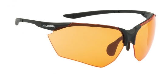 Sonnenbrille Alpina Splinter HRschwarz matt Glas orange verspiegelt S2