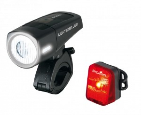 LED-Batterie-Frontleuchte Lightster USB SIGMA K-set  inkl. Nugget RL schwarz